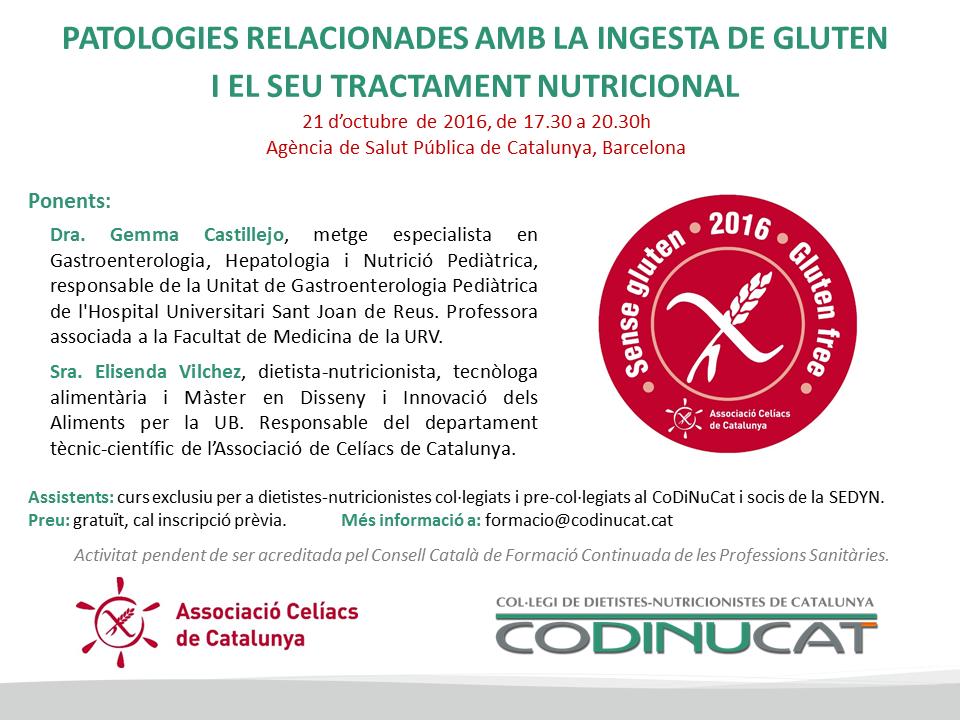 Curso gratuito soci@s SEDYN: Patologías relacionadas con la ingesta de gluten (Barcelona)