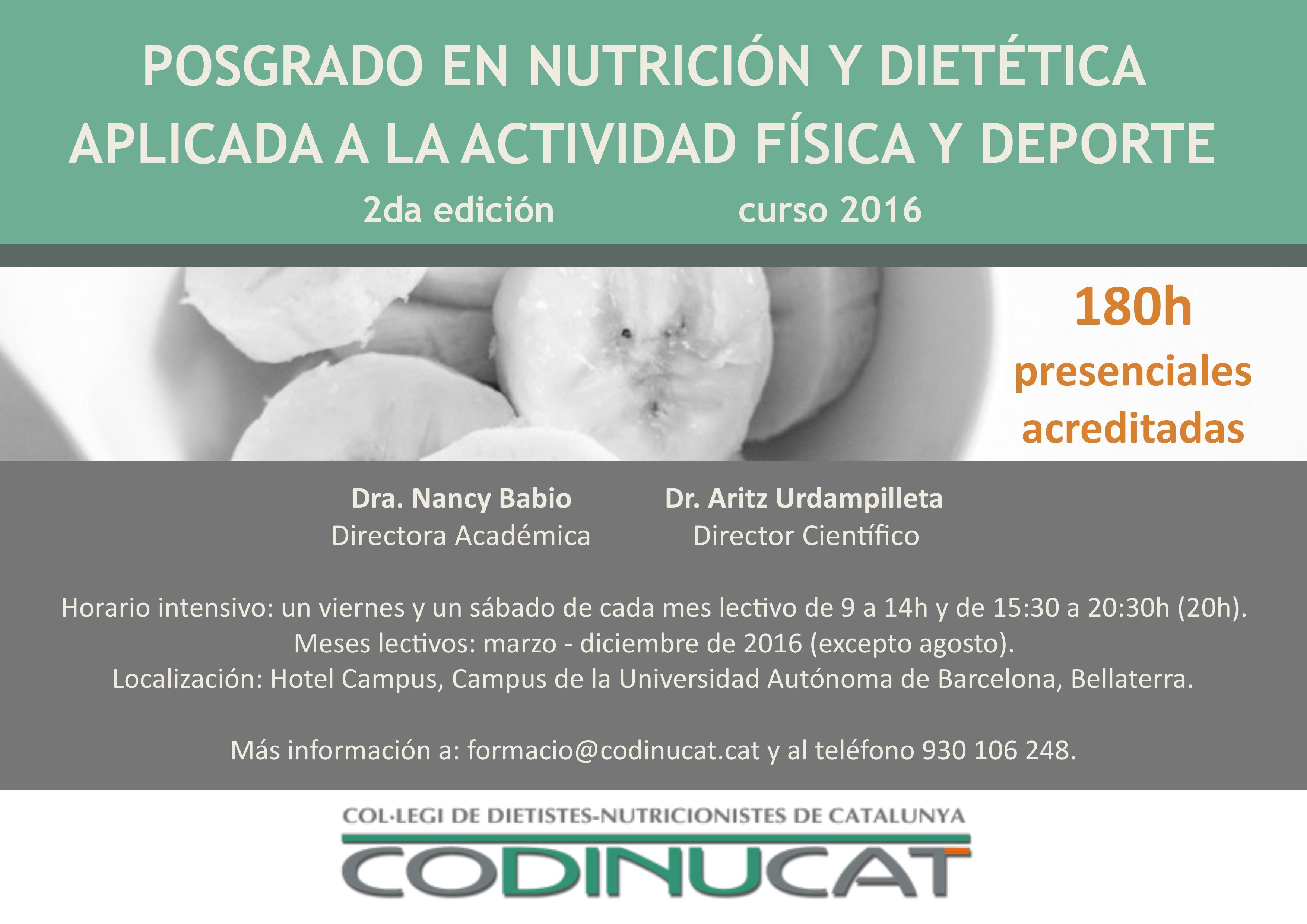2ª ed. Posgrado en Nutrición y Dietética aplicada a la actividad física y el deporte