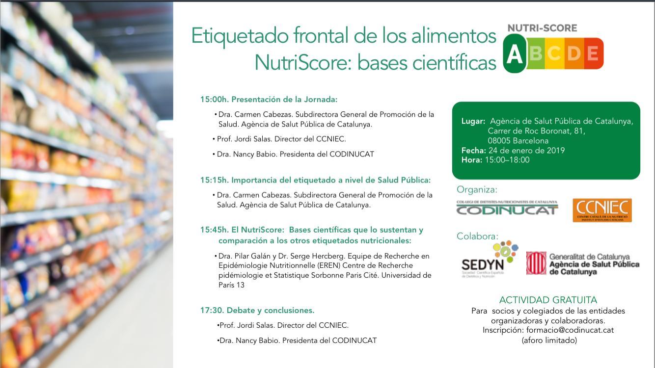 Jornada: El sistema de etiquetado nutricional NutriScore