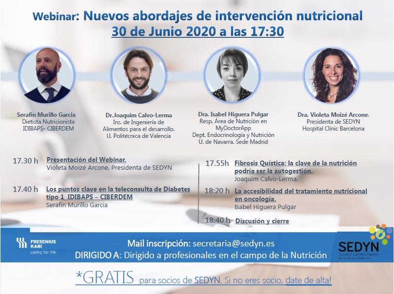 Webinar: Nuevos abordajes de Intervención Nutricional